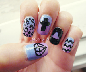 nails, diamond, and purple image