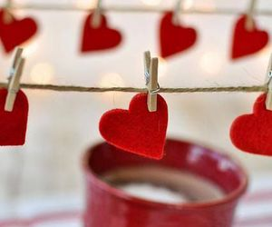 love, hearts, and red image