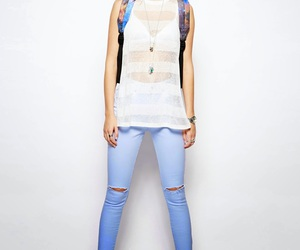 destroyed jeans, high waisted jeans, and stretch jeans image