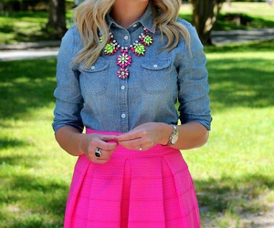 outfit, pink, and skirt image