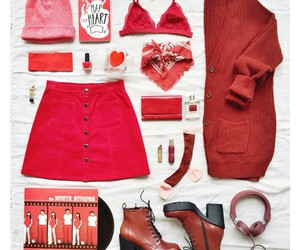 red book, red skirt, and red headphones image