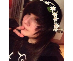 emo, flower crown, and scene image