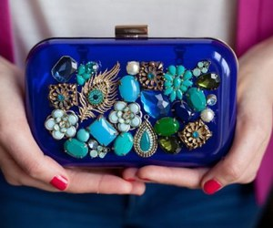 bag, blue, and clutch image