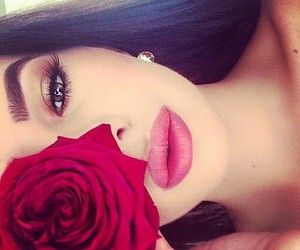 girls face rose lips image