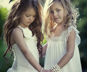 best friends, blonde, and dress image