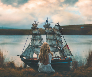 girl, ship, and boat image