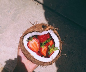 food, strawberry, and coconut image