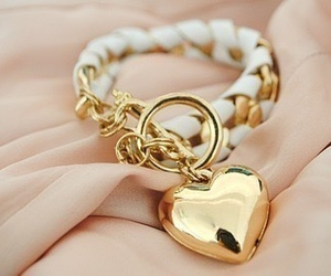 heart, bracelet, and gold image