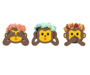 flower crown, hear no evil, and monkey image