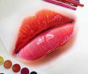 draw, lips, and drawig image