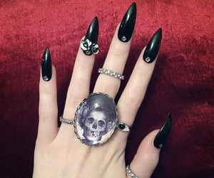 black, nails, and ring image