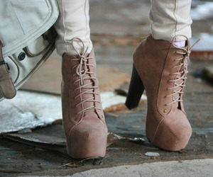 beige, fashion, and high heels boots image