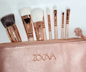 Brushes, gold, and makeup image