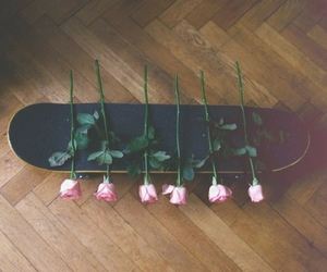 rose, flowers, and skateboard image