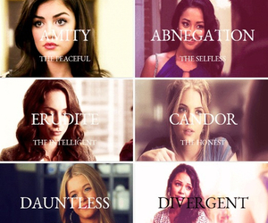 pll, pretty little liars, and divergent image