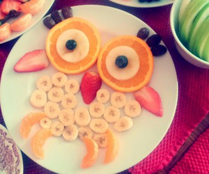 bananas, blueberries, and oranges image
