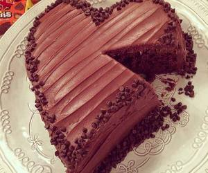 cake, chocolate, and heart image