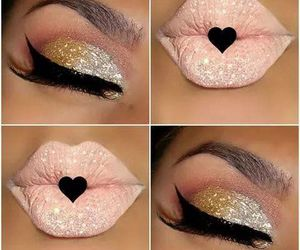 makeup, glitter, and lips image