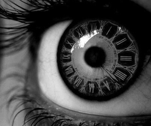 eye, clock, and eyes image