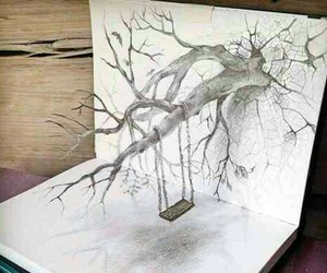 3d, drawing, and tree image