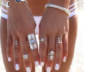 beach, nails, and rings image