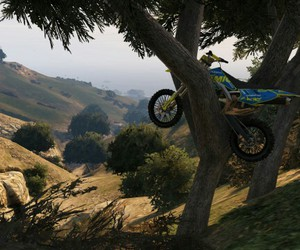 grand theft auto, motorbike, and videogame image