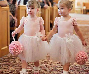 flower girl, pink, and wedding image