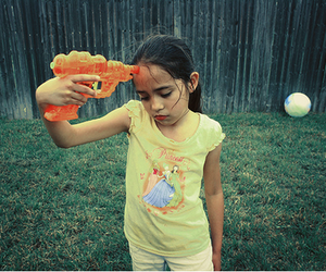 girl, photography, and water gun image