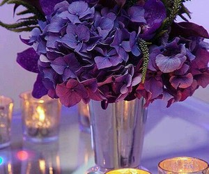 flowers, purple, and candle image