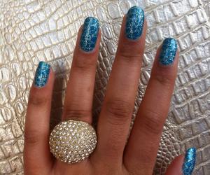 blue, glitter, and nail art image