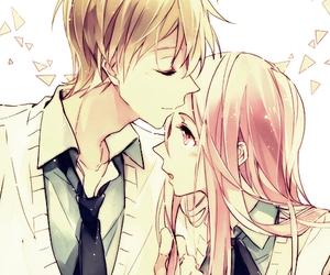 anime, couple, and kiss image