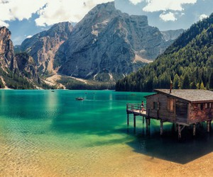 lake, italy, and mountains image