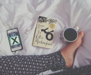 music, book, and coffee image