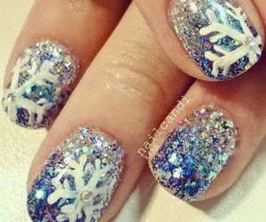 nails, snowflake, and glitter image