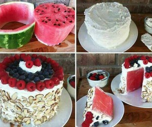 cake, green, and watermelon image