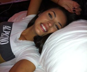 girl, bed, and brunette image
