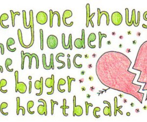 heartbreak, music, and drawing image