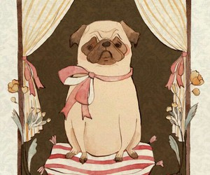 dog, illustration, and pug image