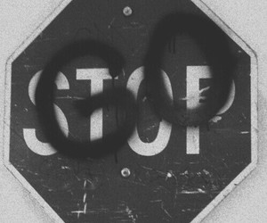 go, stop, and black and white image