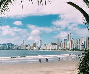 beach, city, and ocean image