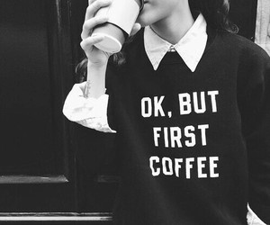 coffee, outfit, and sweater image
