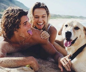 love, beach, and dog image