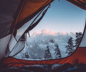 camping, mountains, and snow image