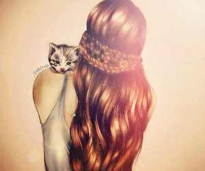 cat, hair, and red image