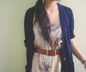 belt, floral, and girl image