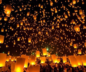 bright, fire, and lanterns image