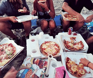 pizza, friends, and summer image