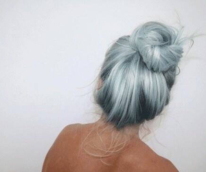 bun, hipster, and dyed hair image