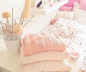 pink, sweater, and room image