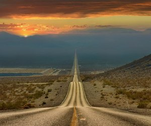 road, travel, and sunset image
